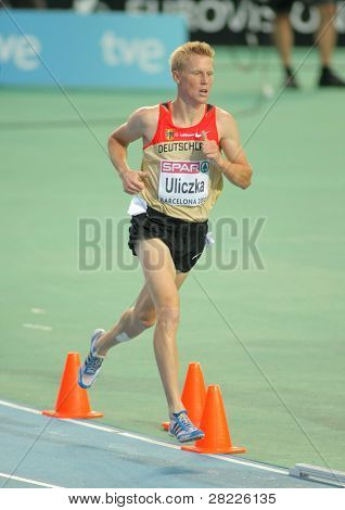 BARCELONA - AUG 1: Steffen Uliczka of Germany during 3000m steeplechase Final of the 20th European Athletics Championships at the Olympic Stadium on August 1, 2010 in Barcelona, Spain
