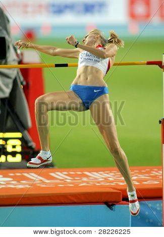 BARCELONA - AUG 1: Svetlana Shkolina of Russia during High Jump Final of the 20th European Athletics Championships at the Olympic Stadium on August 1, 2010 in Barcelona, Spain