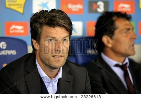 BARCELONA - MARCH 1: Michael Laudrup of Mallorca during the match between Espanyol and Real  Mallorca at the Estadi Cornella on March 1, 2010 in Barcelona, Spain