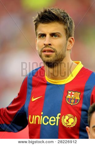 BARCELONA - APRIL 9: Gerard Pique of Barcelona before the match between FC Barcelona and UD Almeria at the Nou Camp Stadium on April 9, 2011 in Barcelona, Spain