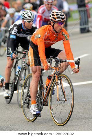 Barcelona, Spanien 27 März: Alan Perez Lezaun mit dem Pack Fahrten Euskaltel Euskadi spanischer Radrennfahrer