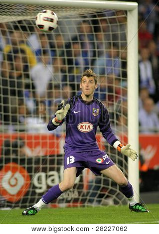 BARCELONA - APRIL 17: David de Gea of Atletico Madrid during the match between Espanyol and Atletico Madrid at the Estadi Cornella on April 17, 2011 in Barcelona, Spain