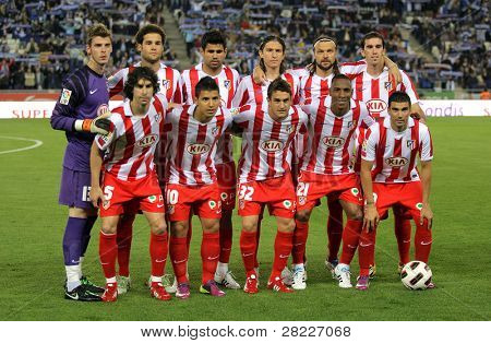 BARCELONA - APRIL 17: Atletico Madrid Team pose for photos before a Spanish League match between Espanyol and Atletico Madrid at the Estadi Cornella on April 17, 2011 in Barcelona, Spain