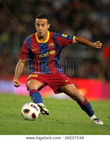 BARCELONA - MAY 15: Thiago Alcantara of Barcelona during the match between FC Barcelona and Deportivo La Coruna at Nou Camp Stadium in Barcelona, Spain on May 15, 2011