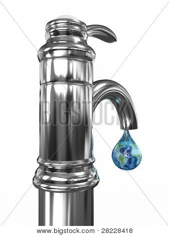 Tap Water With A Drop In Which The Planet Earth. 3D Image