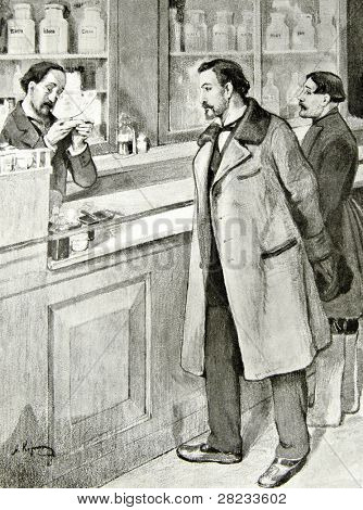 A man buys drugs at the pharmacy - illustration by A.Korin,
