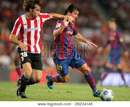BARCELONA, SPAIN - AUG. 23: Futbol Club Barcelona argentinian star Leo Messi during Spanish Supercup match between Barcelona vs Athletic Bilbao at the New Camp Stadium in Barcelona on August 23, 2009.