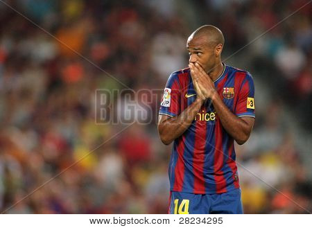 BARCELONA, SPAIN - AUG. 23: Futbol Club Barcelona player Thierry Henry during Spanish Supercup match between Barcelona vs Athletic Bilbao at the New Camp Stadium in Barcelona on August 23, 2009.
