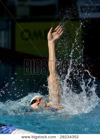 BARCELONA, SPAIN - JUNE 14: American Olympic champion swimmer Natalie Coughlin swims backstroke during the Mare Nostrum meeting in Barcelona's Sant Andreu club, June 14, 2007 in Barcelona, Spain.