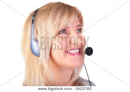 Middleaged Frau mit Headset