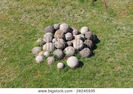 White stone cannonballs