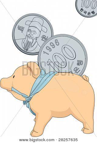 Anuncio para ahorrar dinero con un lindo Piggybank