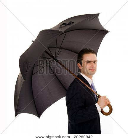 Young business man with an umbrella against white background