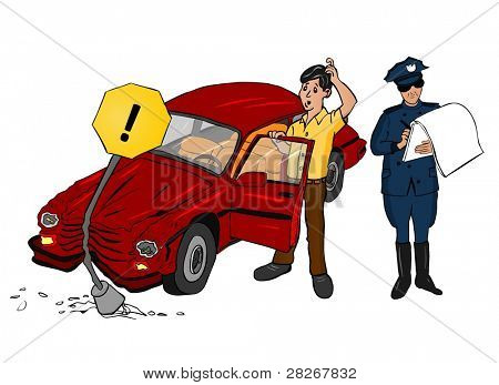 Accident Car with Traffic Police
