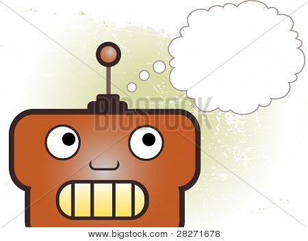 Robot Head Thinking Grungy Background