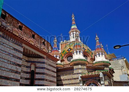 Church With Beautiful Architecture And Ornament. Lloret De Mar, Costa Brava, Spain.