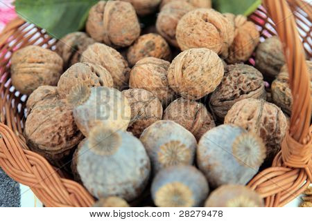 A pile of walnuts and poppy