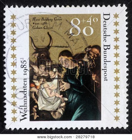 GERMANY - CIRCA 1985: A greeting Christmas stamp printed in the Germany shows Christmas Creche, circa 1985