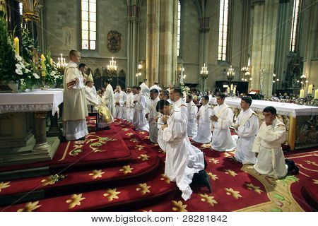 ZAGREB, CROATIA - JUNE 18: Rite of Ordination to the Priesthood in Zagreb Cathedral on June 18, 2011 in Zagreb, Croatia.