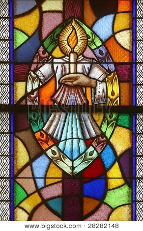 Baptism, Seven Sacraments, Stained glass