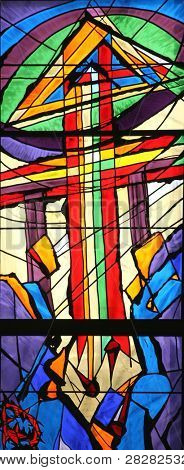 Apocalyptic Lamb, Stained glass church window