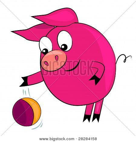 cartoon pig playing ball.vector animal illustration
