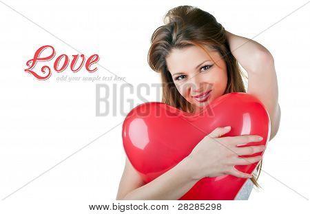 Beautiful Woman With Air Balloon Like Heart