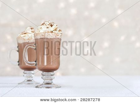 hot chocolate on winter background