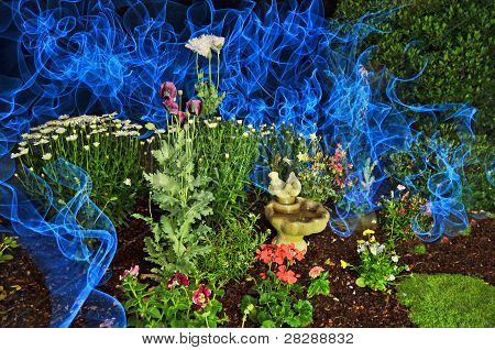 Garden With Blue Smoke