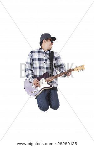 Energetic Asian Guy Plays Guitar