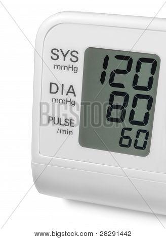 Pressão arterial digital pulso Tonometer Monitor tela mostrando Optimum Ideal 120 80 60