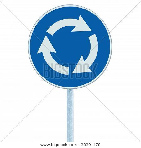 Roundabout Crossroad Road Traffic Sign Isolated, Blue, White Arrows Left Hand