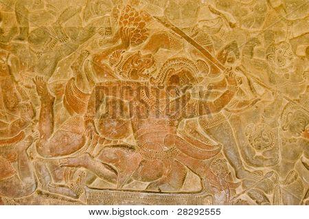 Battle of Lanka carving, Angkor Wat