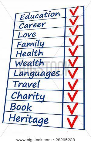 life priority checklist