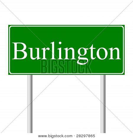 Burlington green road sign