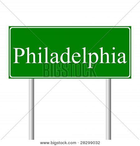 Philadelphia green road sign