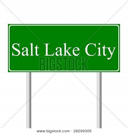 Salt Lake City green road sign