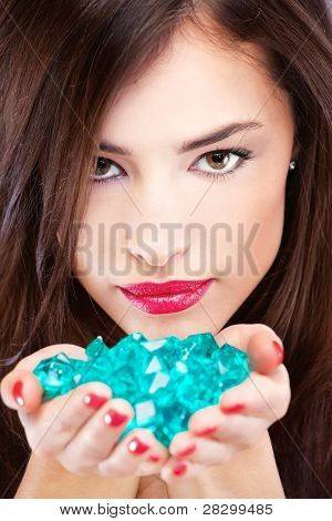 Pretty Woman With Blue Rocks