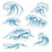 Hand Drawn Ocean Waves. Sketch Sea Waves Tide Splash. Hand Drawn Surfing Storm Wind Water Doodle Vec poster