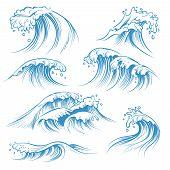 Hand Drawn Ocean Waves. Sketch Sea Waves Tide Splash. Hand Drawn Surfing Storm Wind Water Doodle Vec poster