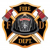 Fire Department Cross Vintage With Black Helmet And Axes Is An Illustration Of A Vintage Fireman Or  poster