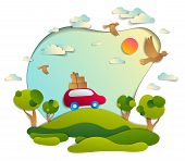 Red Car With Baggage In Scenic Nature Landscape, Green Fields And Trees, Birds And Clouds In The Sky poster