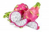 Ripe Dragon Fruit, Pitaya Or Pitahaya Isolated On White Background, Fruit Healthy Concept poster