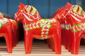 Mora, Sweden. 02/15/2017. The Dala Horse Factories Of Nusnäs. In A Workshop And Manufactory Shop Of  poster