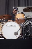 CLARK, NJ - SEPT 17: Drummer Rick Fedyk performs with The Paul Rodgers Band at the Union County Musi