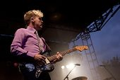 CLARK, NJ - SEPT 17: Guitarist Chris Allen of the band Neon Trees performs at the Union County Music