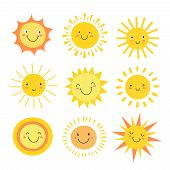 Sun Emoji. Funny Summer Sunshine, Sun Baby Happy Morning Emoticons. Cartoon Sunny Smiling Faces Vect poster