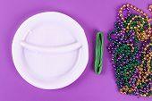 Diy Wreath Mardi Gras, Fat Tuesday Purple Background. Gift Idea, Decor Mardi Gras. Wreath Plastic Pl poster
