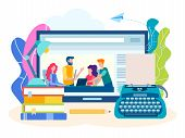 Concept Writing Courses Online, Creative Literary Webinar. Vector Illustration For Social Media Mark poster