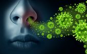 Influenza Concept And Seasonal Flu Virus Spread Caused By Infectious Microbes With Human Symptoms Of poster